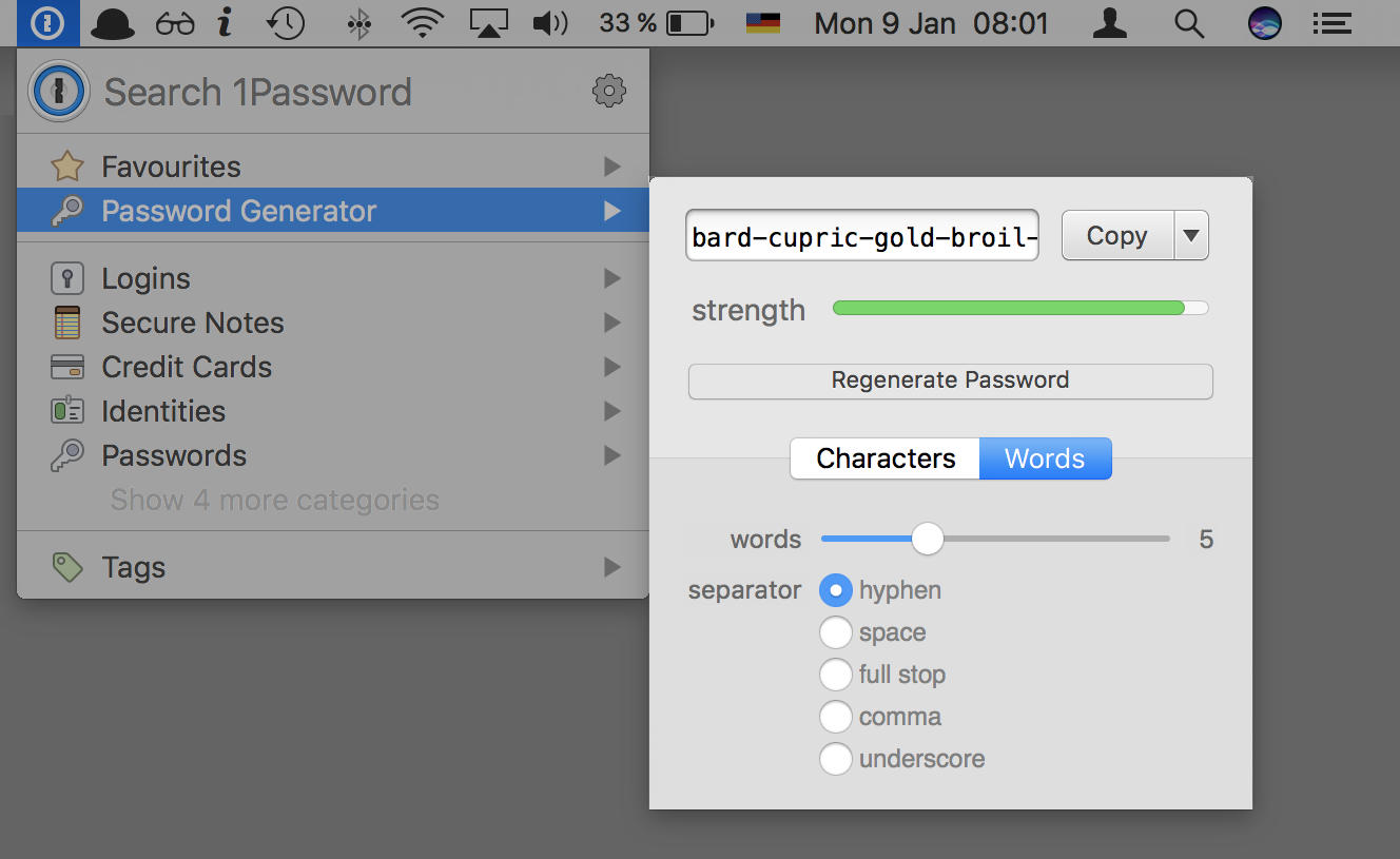 Not only can you store all of your passwords in 1Password, it also generates passwords for you.