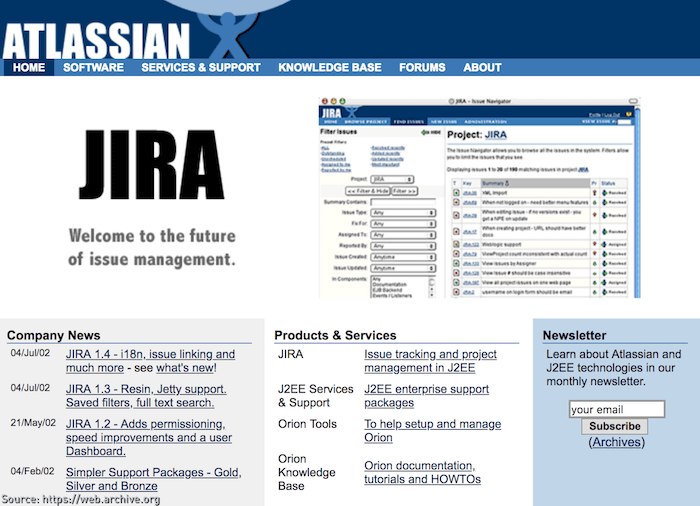 JIRA 1.4 just released on the Atlassian website in 2002