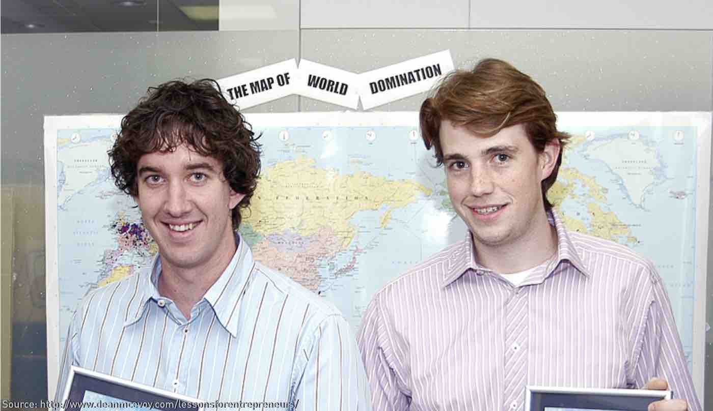 The young Atlassian founders Scott Farquhar and Mike Cannon-Brookes