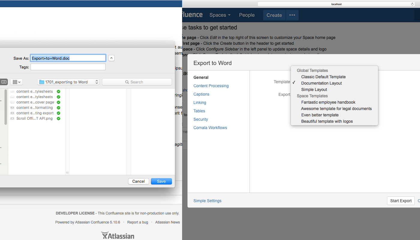 Multiple templates in Confluence Word exporter VS Scroll Office