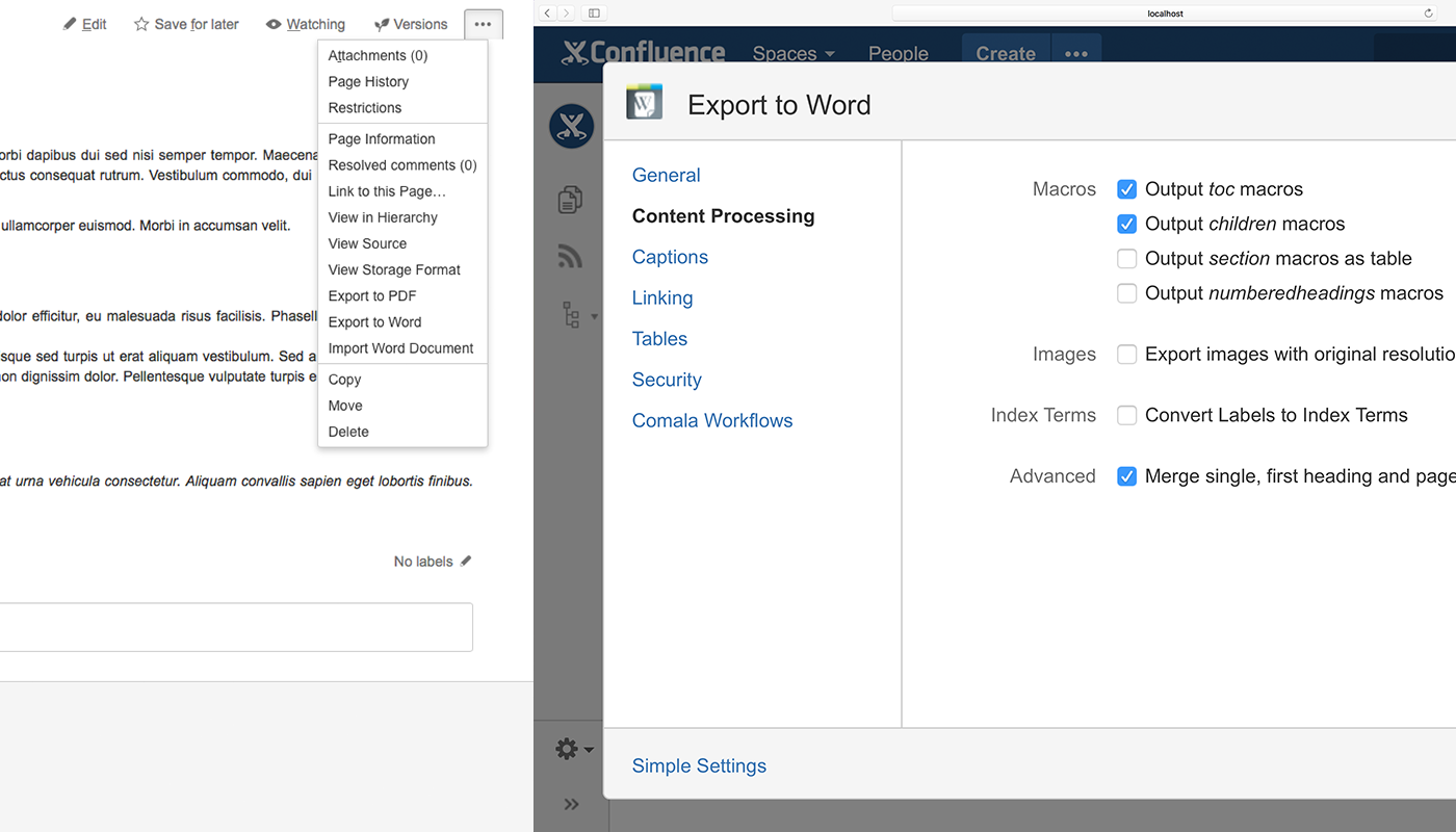 Style formatting in Confluence's Word exporter VS Scroll Office