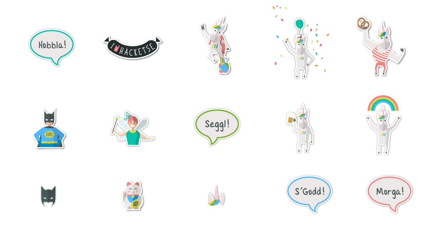 Picture showcasing some of the K15t Software stickers, e.g. a unicorn, a fairy, etc.