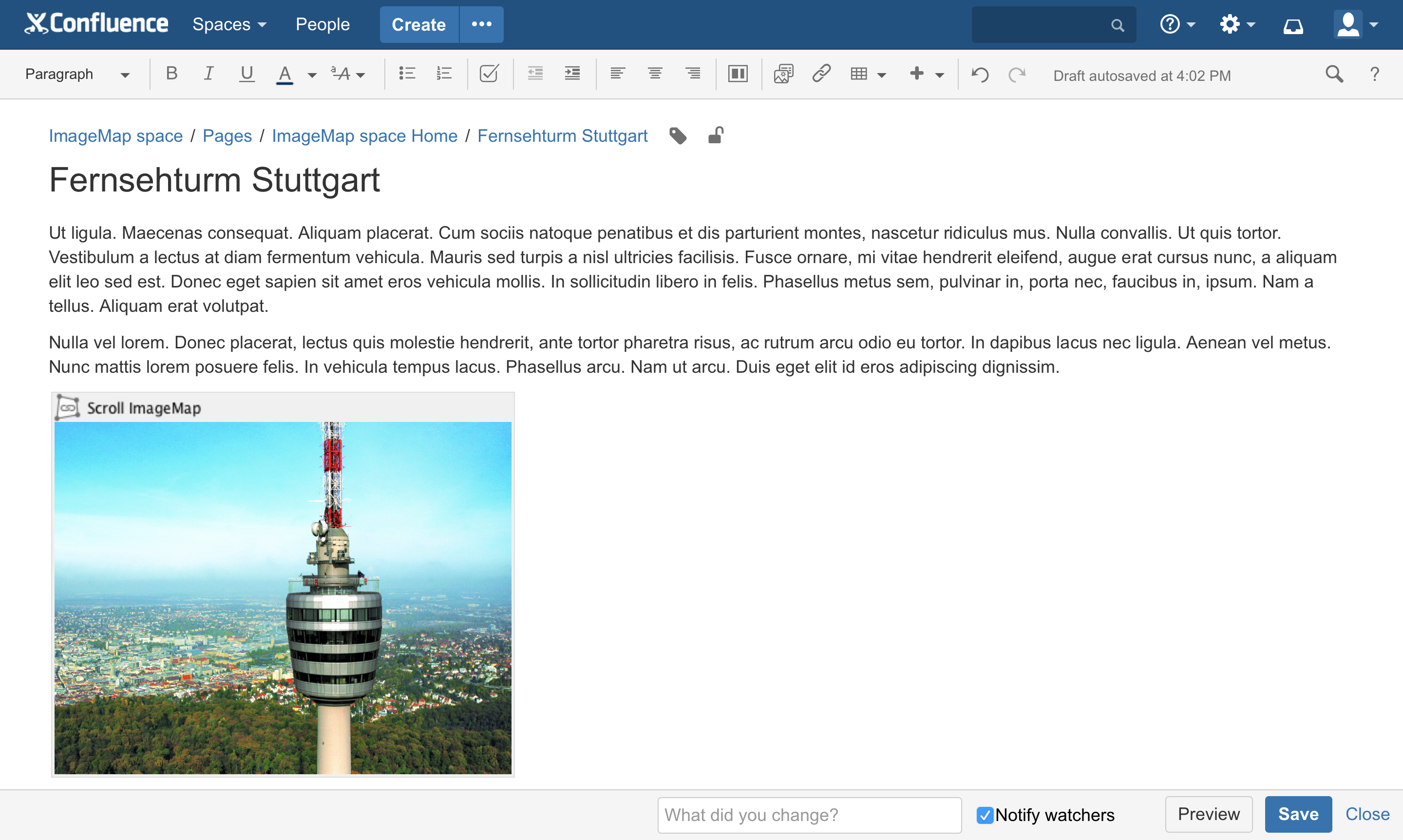 Preview images in the Confluence editor. This feature is available on Confluence Server only.