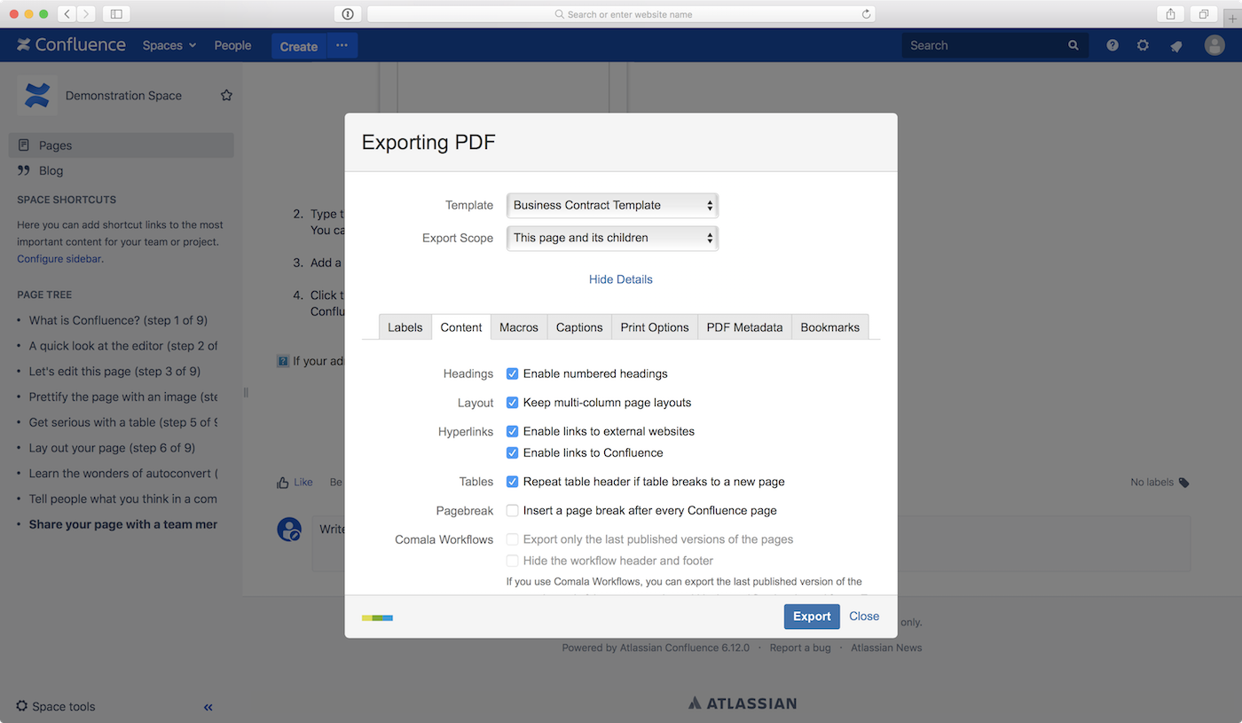 Scroll PDF Exporter Export Scope