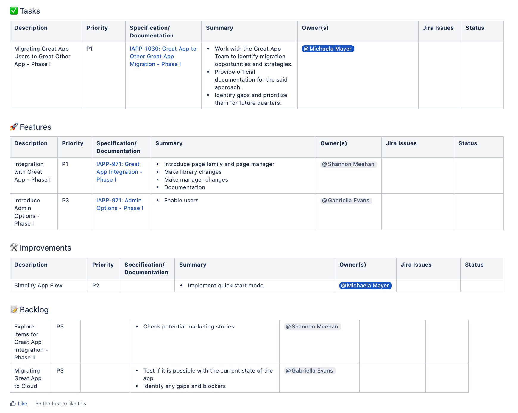 Part two of our example for a product roadmap template in Confluence